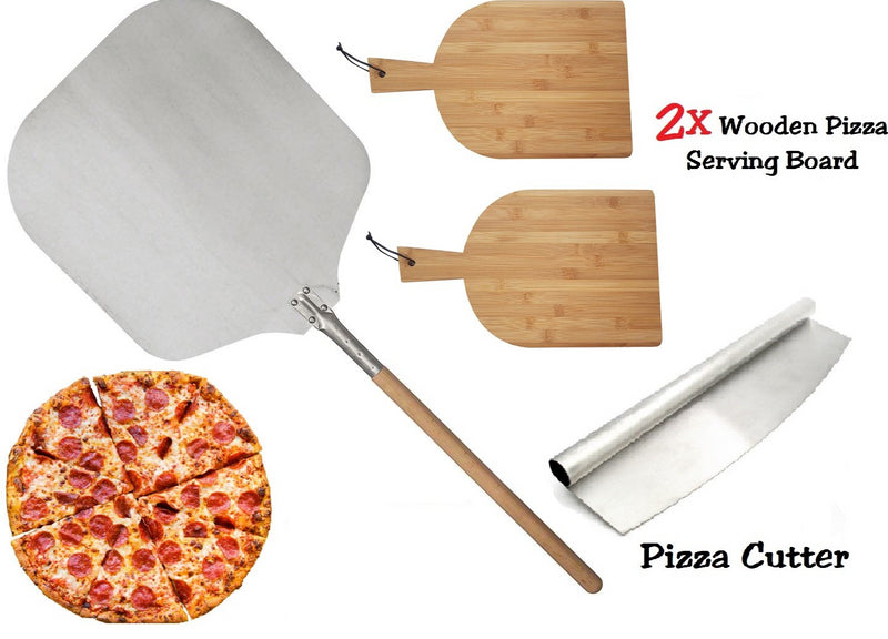 PIZZA SET 90CM PIZZA PEEL 2X RECTANGLE WOODEN SERVING BOARD PIZZA ROCKER CUTTER
