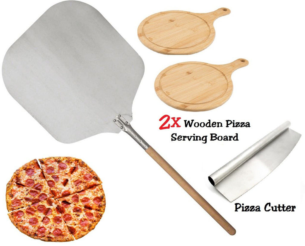 PIZZA SET 90CM PIZZA PEEL 2X ROUND WOODEN SERVING BOARD PIZZA ROCKER CUTTER