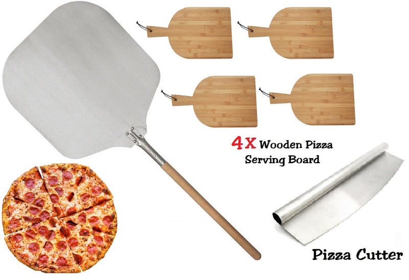 PIZZA SET 90CM PIZZA PEEL 4X RECTANGLE WOODEN SERVING BOARD PIZZA ROCKER CUTTER