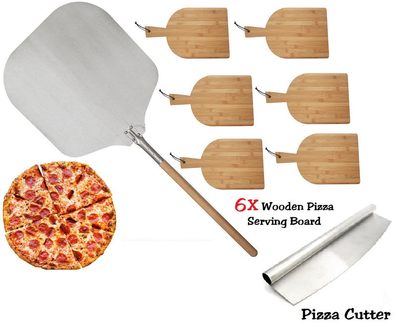 PIZZA SET 90CM PIZZA PEEL 6X RECTANGLE WOODEN SERVING BOARD PIZZA ROCKER CUTTER