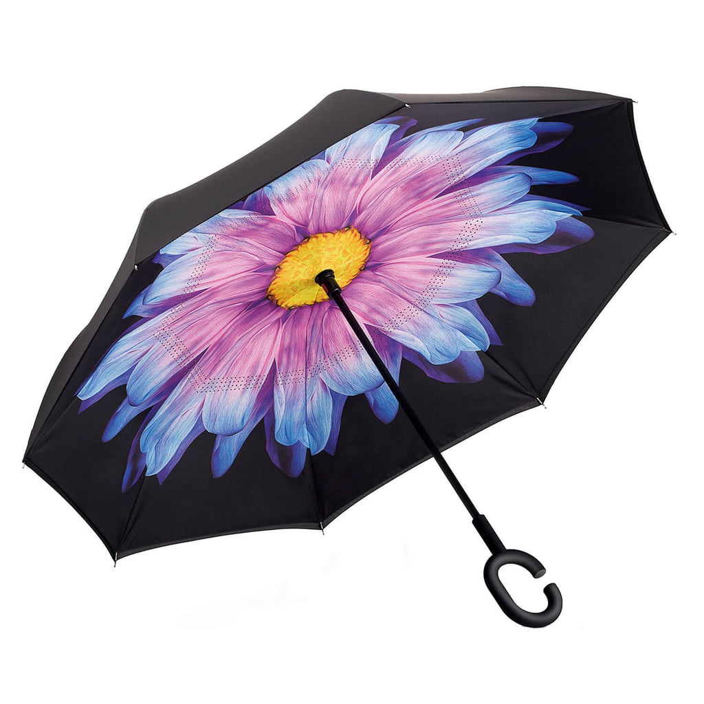Inverted Umbrella Double Layer Reverse Umbrella Purple Daisey HW - 150