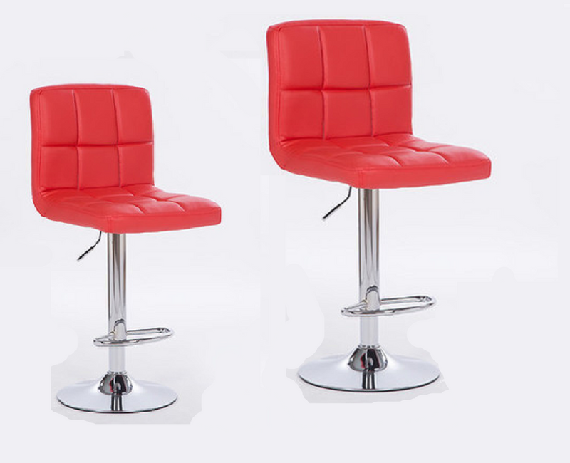 2X MODERN RED BAR KITCHEN STOOLS PU LEATHER CUSHION ADUSTABLE GAS LIFT STREADY BASE