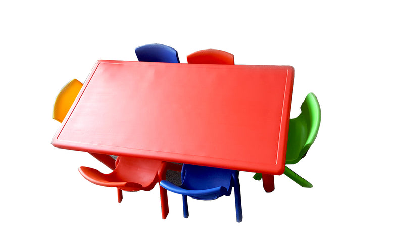 LARGE CHILDREN TODDLER KIDS ADJUSTABLE RED TABLE AND 6 COLOURED CHAIRS 120cmX60cm