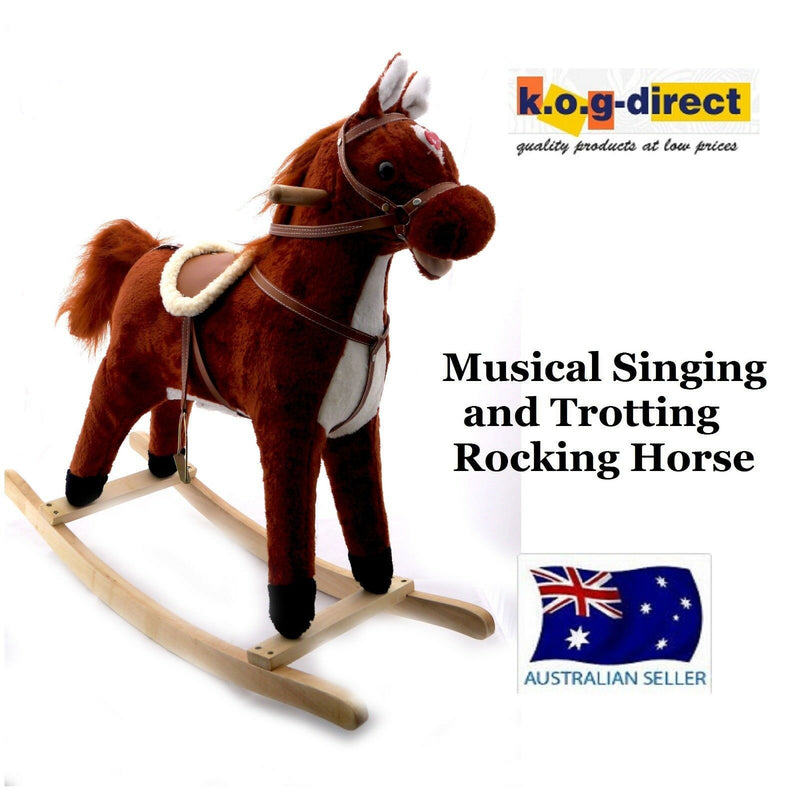 PLUSH KIDS ROCKING HORSE MOVES SINGS WITH WOODEN STAND & SADDLE CHESTNUT 75cm