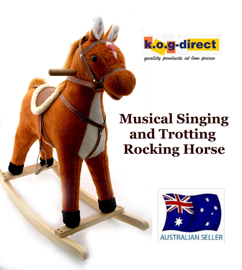 PLUSH KIDS ROCKING HORSE MOVES SINGS WITH WOODEN STAND & SADDLE TAN 75cm