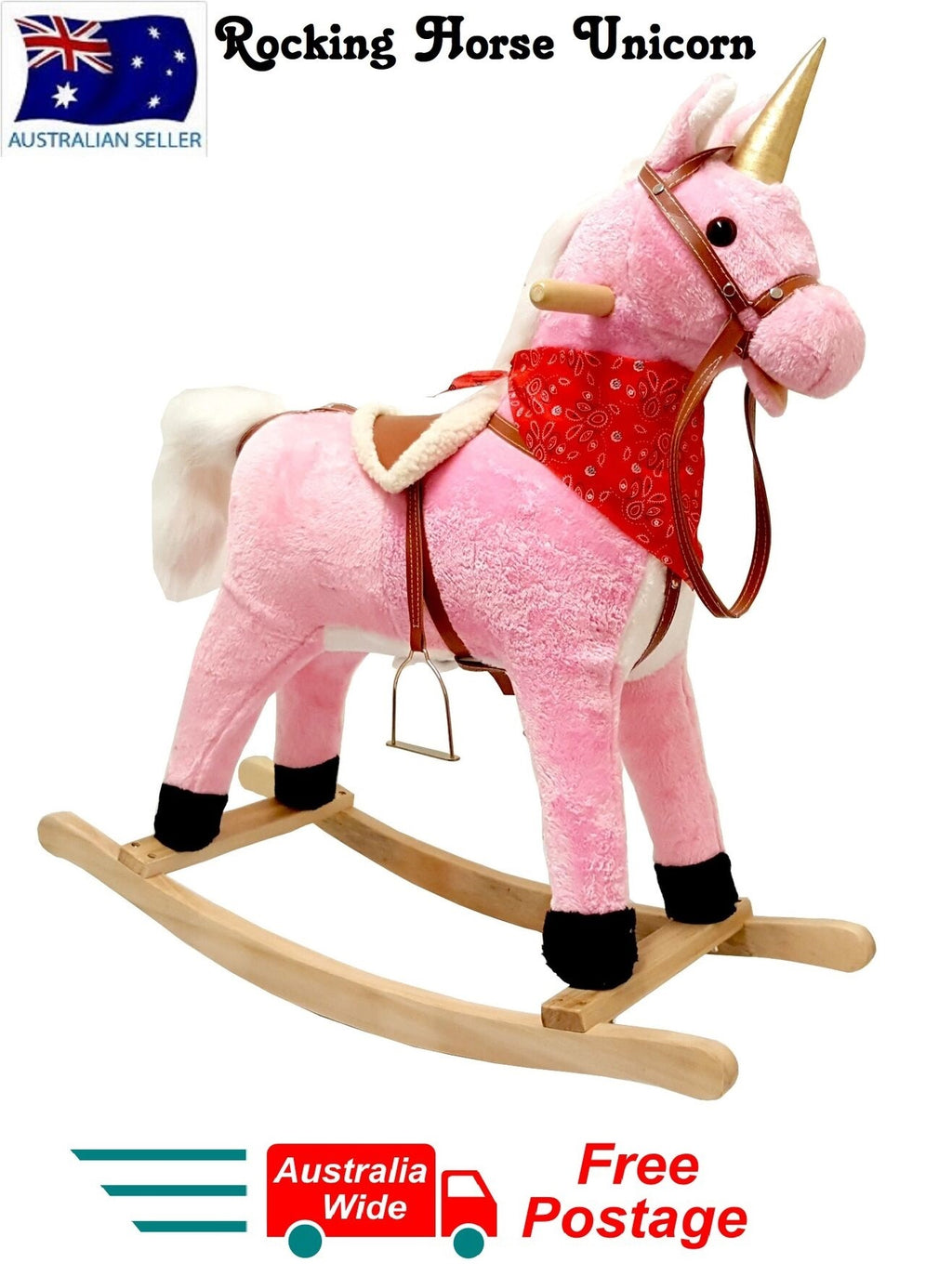 PLUSH KIDS ROCKING HORSE UNICORN MOVES SINGS WITH WOODEN STAND & SADDLE PINK 75cm