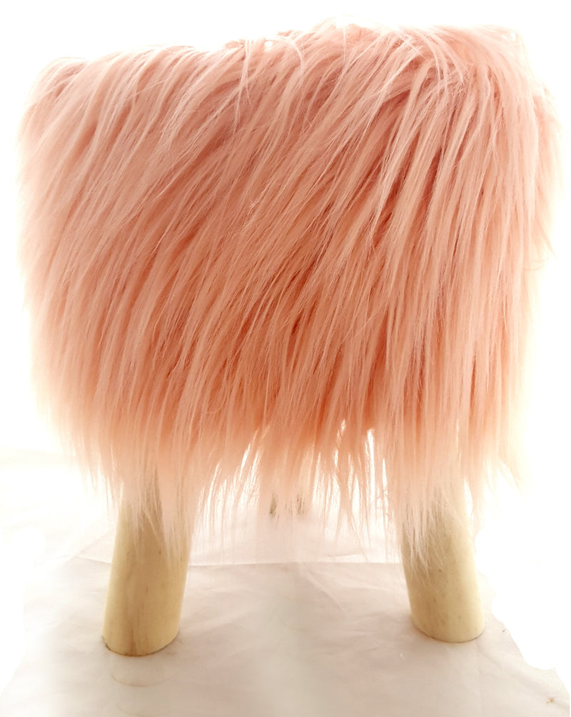 Modern Salmon Fluffy Sitting Stool or Foot Stool Ottoman Pouffe with Padded Seat