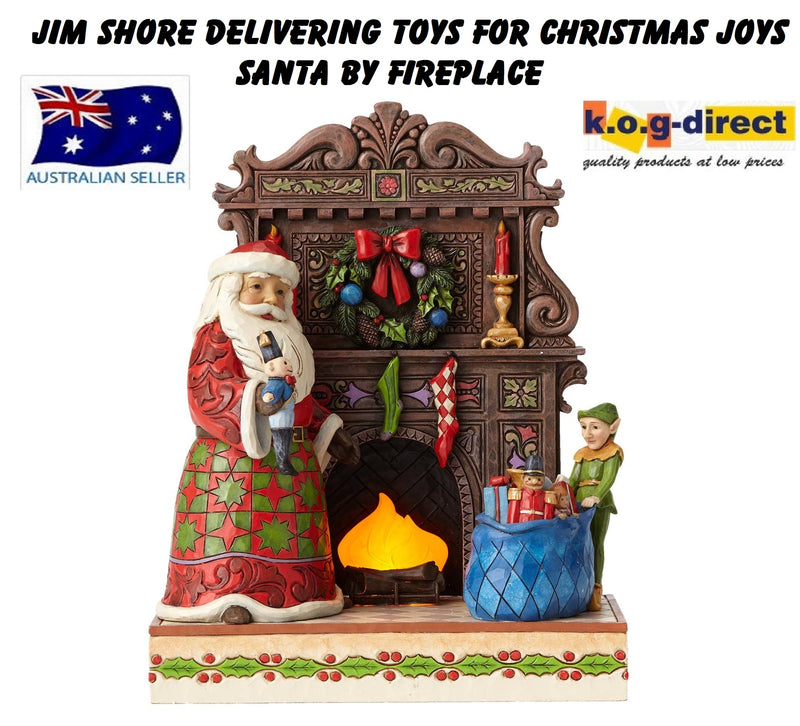 JIM SHORE SANTA DELIVERING TOYS AND CHRISTMAS JOYS SANTA BY FIREPLACE MASTERPIECE
