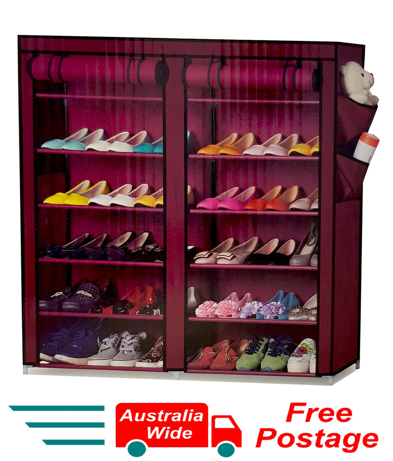 BROWN PORTABLE STORAGE SHOE CABINET RACK ORGANISER 28 PAIRS DOUBLE ROW HW387