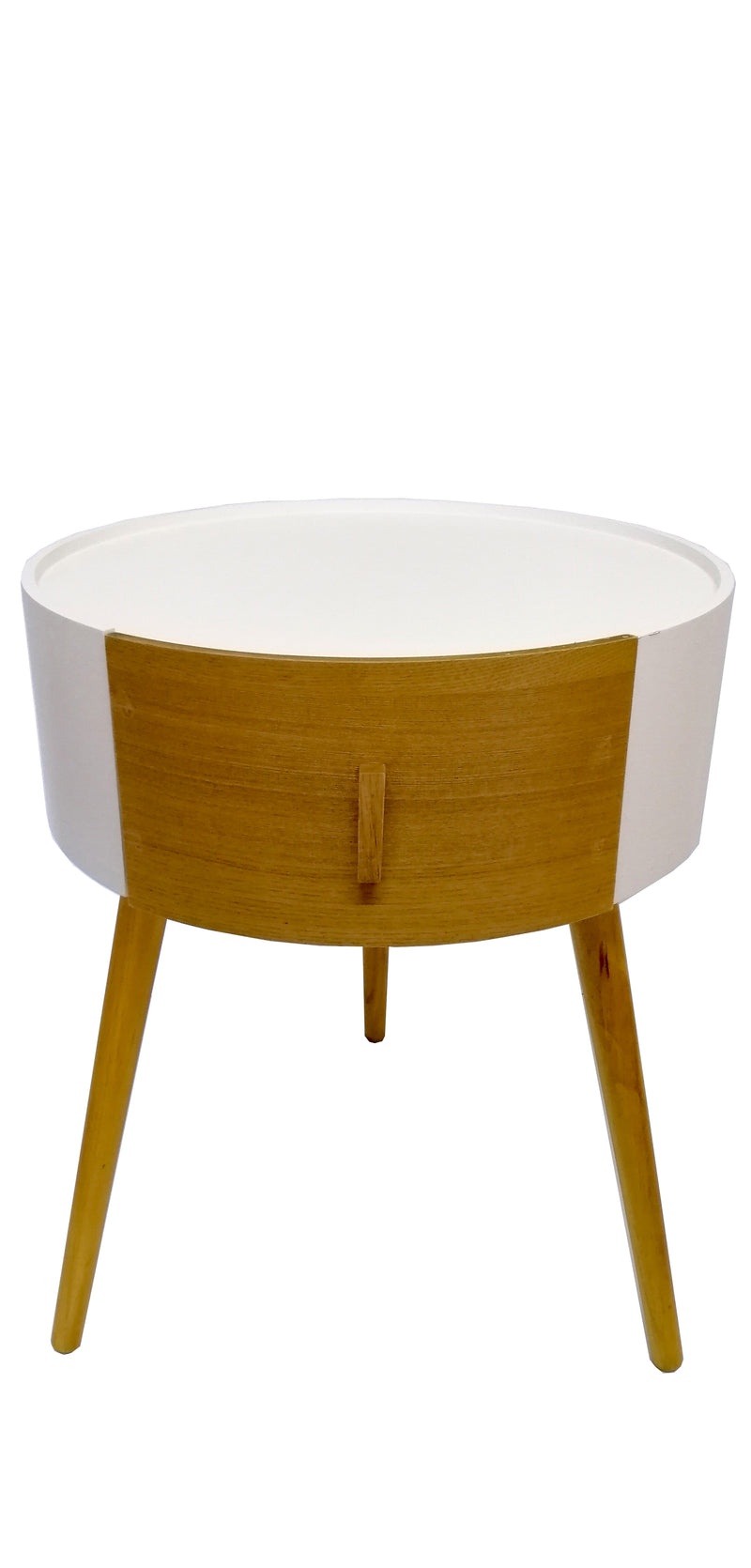 Round White Wooden Side Table With Draws Bedside Table Draw Natural Wood HW-633