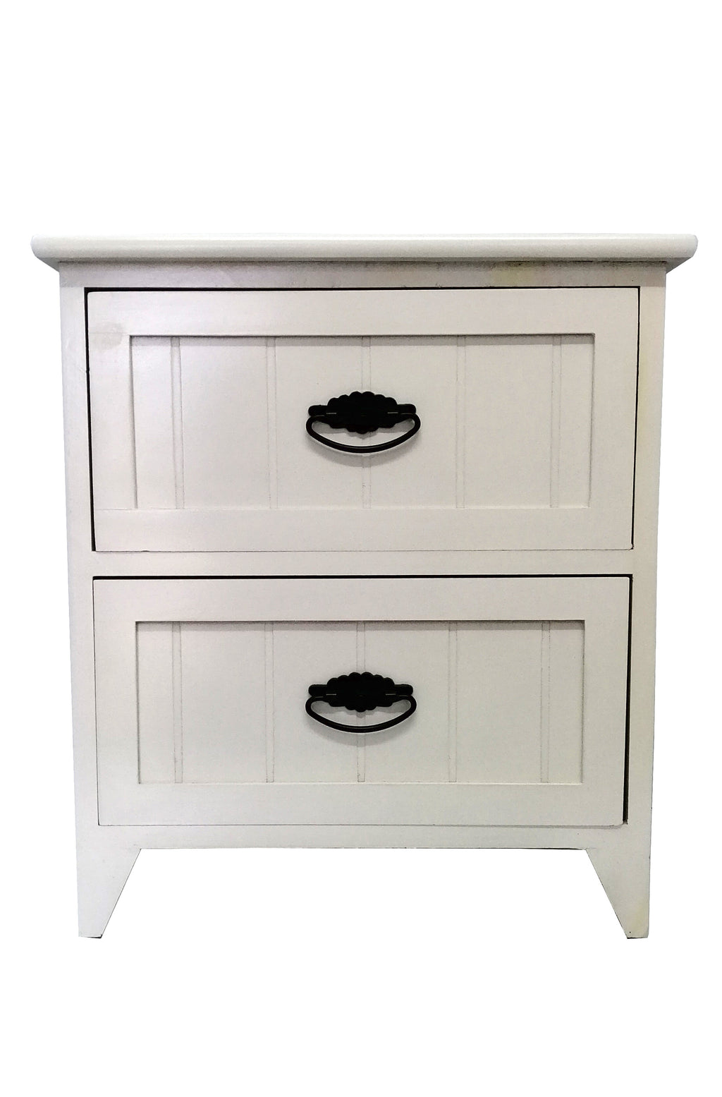 White Wooden Side Table With Draws Bedside Table Draw HW-638