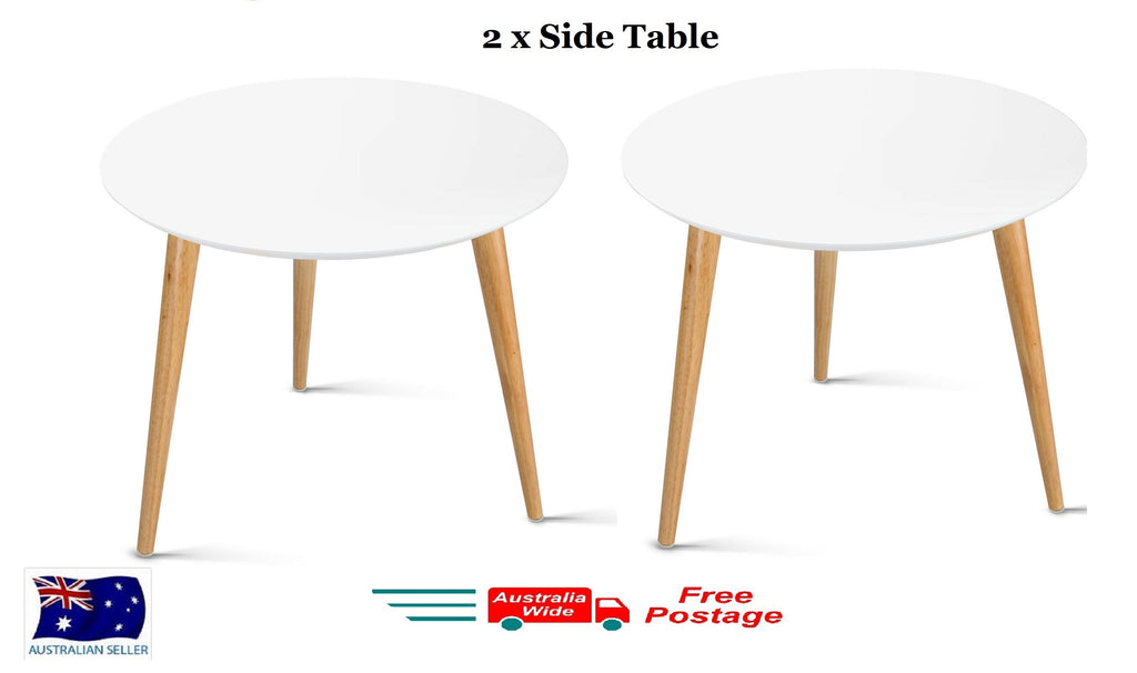 2X LARGE MODERN SIDE TABLE COFFEE TABLE BEDSIDE ROUND OFFICE HOME FURNITURE WOOD
