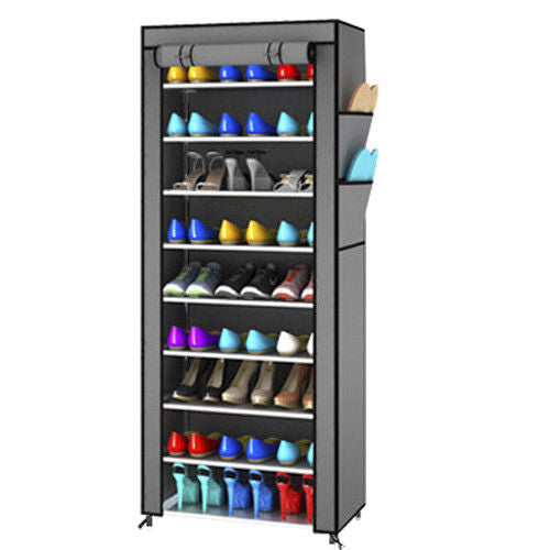 TALL BROWN PORTABLE STORAGE SHOE CABINET RACK ORGANISER DOUBLE ROW HW384