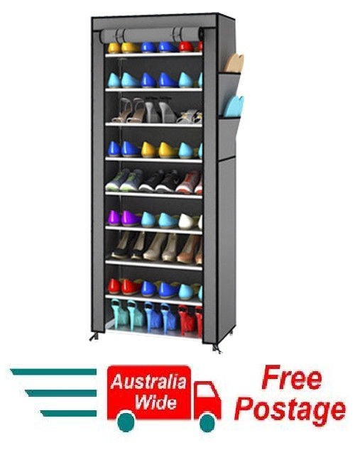 TALL GREY PORTABLE STORAGE SHOE CABINET RACK ORGANISER DOUBLE ROW HW384