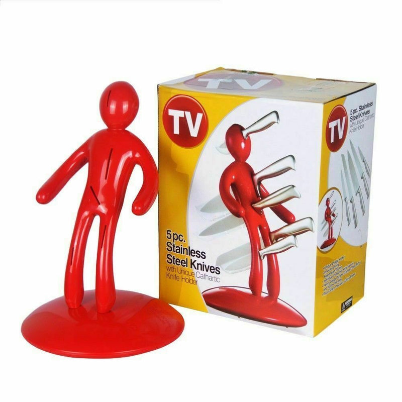 VOODOO MAN KNIFE BLOCK SET WITH 5 HIGH QUALITY STAINLESS STEEL KNIVES RED