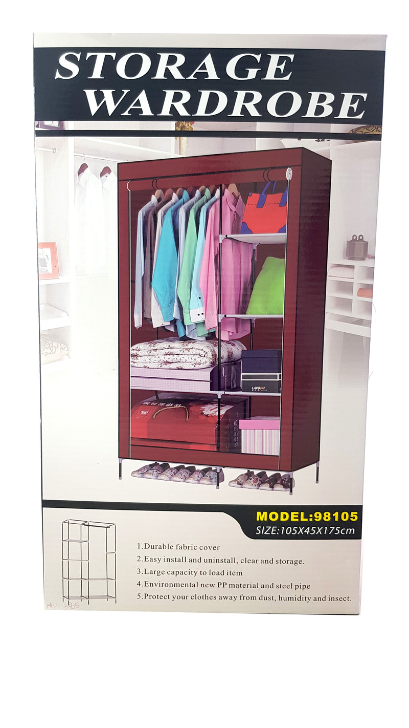 LARGE PORTABLE STORAGE WARDROBE CLOSET HEAVY DUTY BLUE HW385