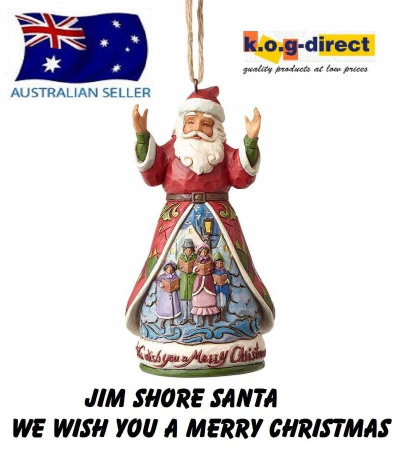JIM SHORE HEARTWOOD CREEK WE WISH YOU A MERRY CHRISTMAS SANTA HANGING CHRISTMAS ORNAMENT 4058813