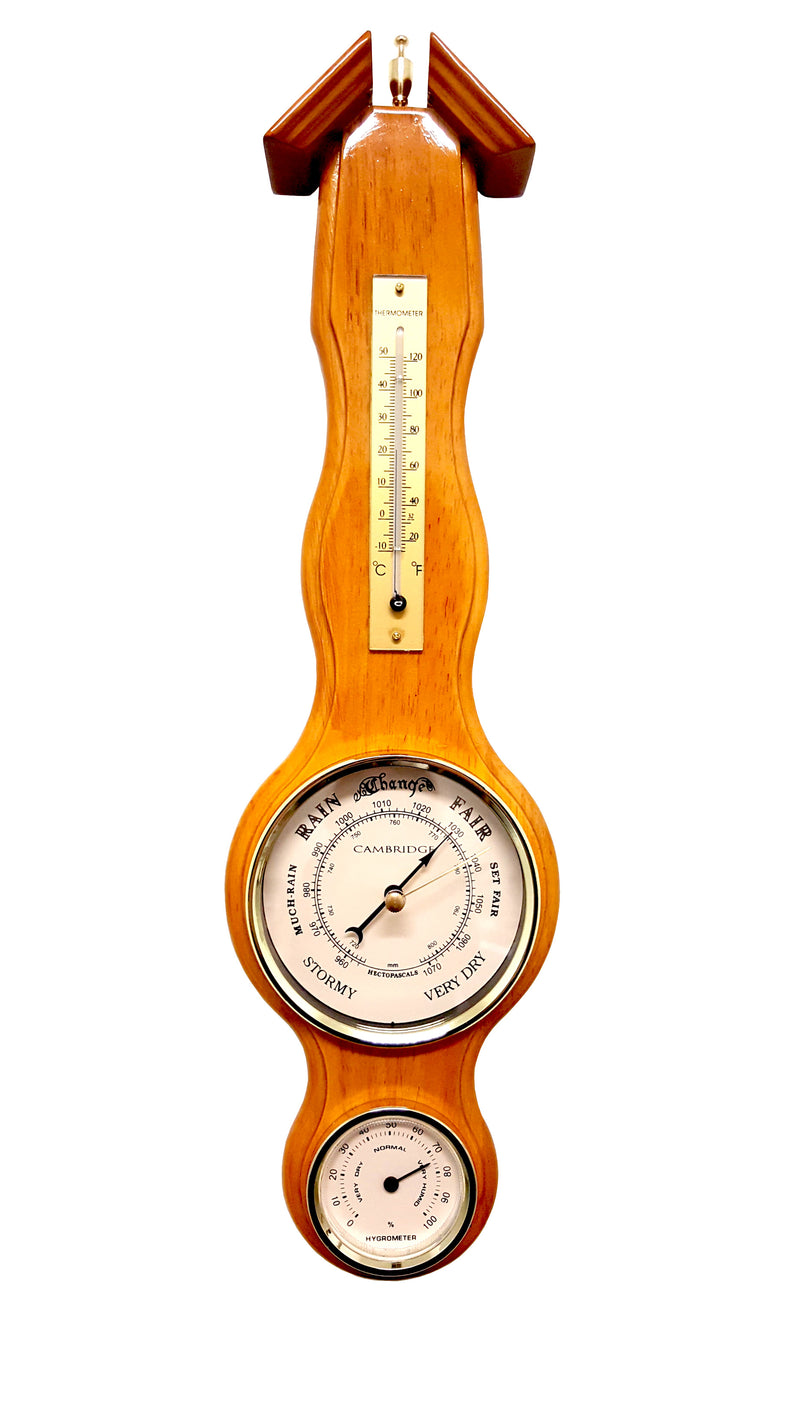 WOODEN WEATHER STATION BAROMETER THERMOMETER & HYGROMETER WOOD PIANO FINISH (G)