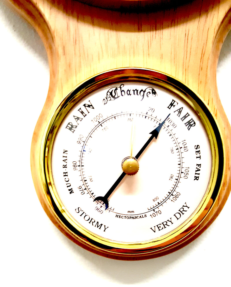 WOODEN WEATHER STATION CLOCK BAROMETER THERMOMETER & HYGROMETER MATTE PINE (J)