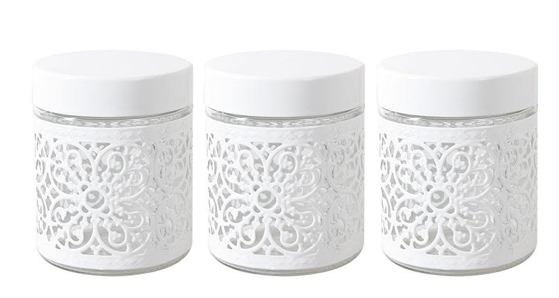 SET OF 3 MILANO CANISTER SET TEA COFFEE SUGAR WHITE ROUND ORNATE LATTICE CUTOUT