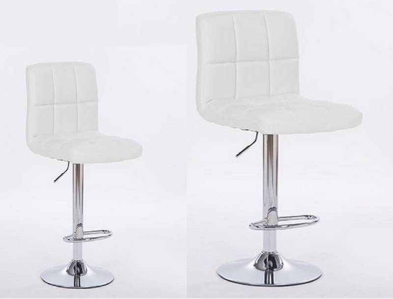 2X MODERN MYRA WHITE BAR KITCHEN STOOLS PU LEATHER CUSHION ADUSTABLE GAS LIFT STREADY BASE