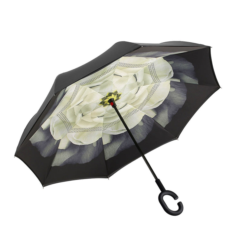 Inverted Umbrella Double Layer Reverse Umbrella A White Rose HW - 150