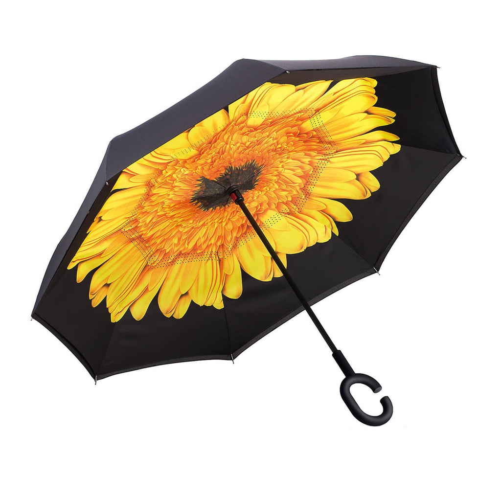 Inverted Umbrella Double Layer Reverse Umbrella Yellow Daisy HW - 150