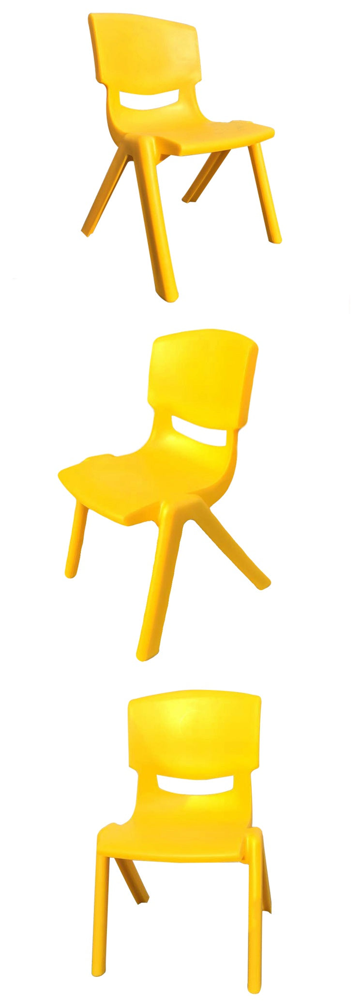 SET OF 4 YELLOW CHILDRENS CHAIRS FOR CHILDRENS TABLE HOLDS UP TO 100KG
