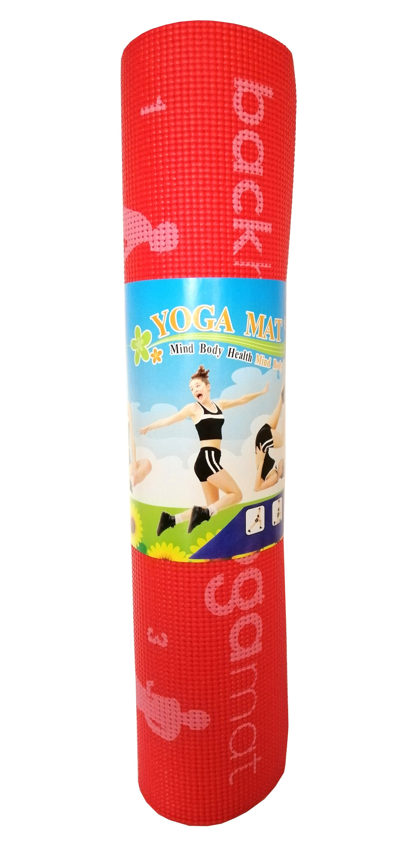 Back Health Yoga Matt Fitness 28 Postions Displayed Non Slip Red