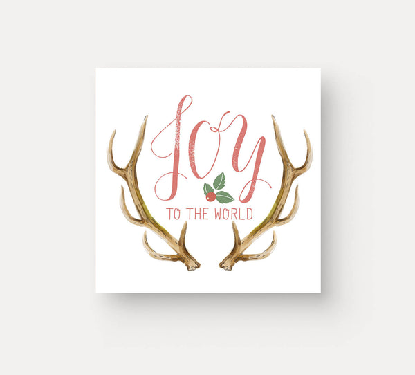 Joy To The World Deer Antler Christmas Card