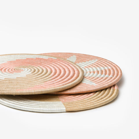 The flat collection circles sitting on top of each other on a grey background