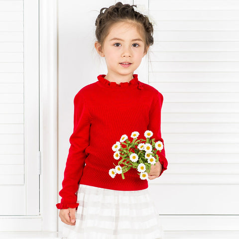 Red Ruffle Collar Wool Blend Sweater