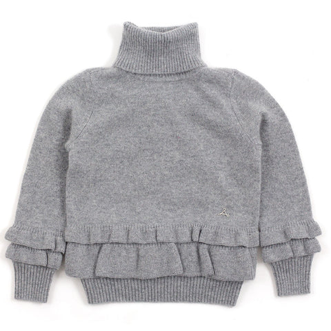 Heather Grey Cashmere Ruffle Hem Turtleneck