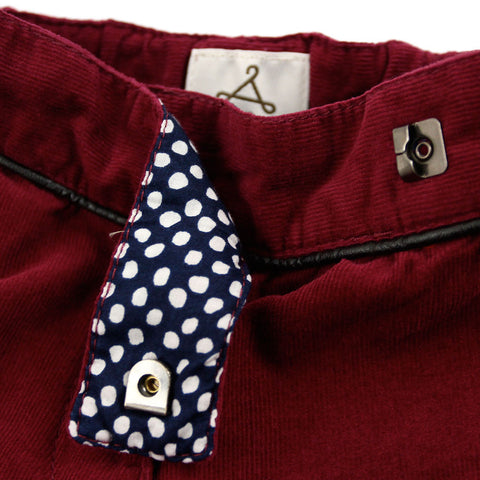 Burgundy Corduroy Trousers With Piping Detail