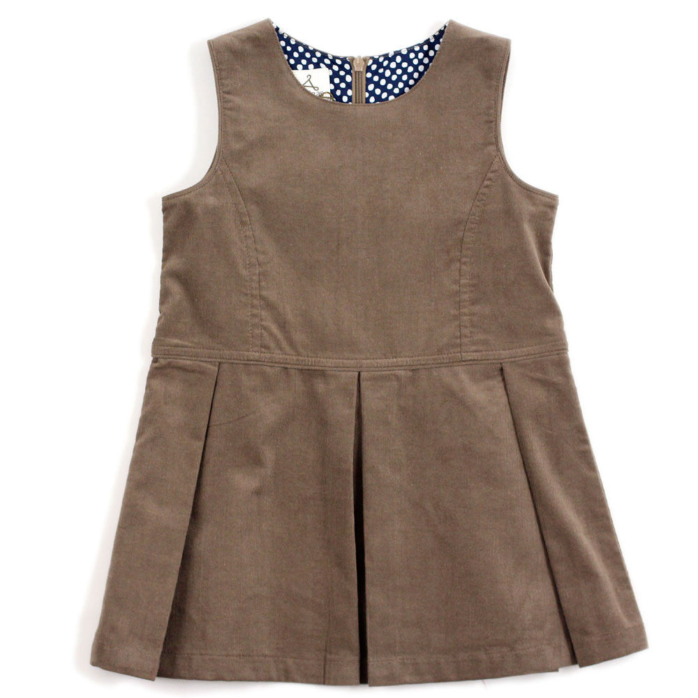 Beige Corduroy Pinafore Dress