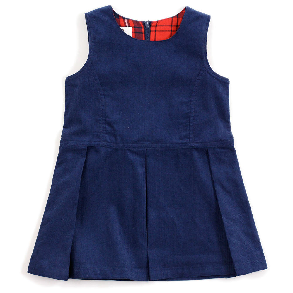 Navy Corduroy Pinafore Dress