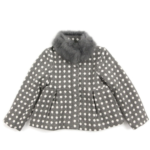 Grey Polka Dot Flare Coat With Fur Trim
