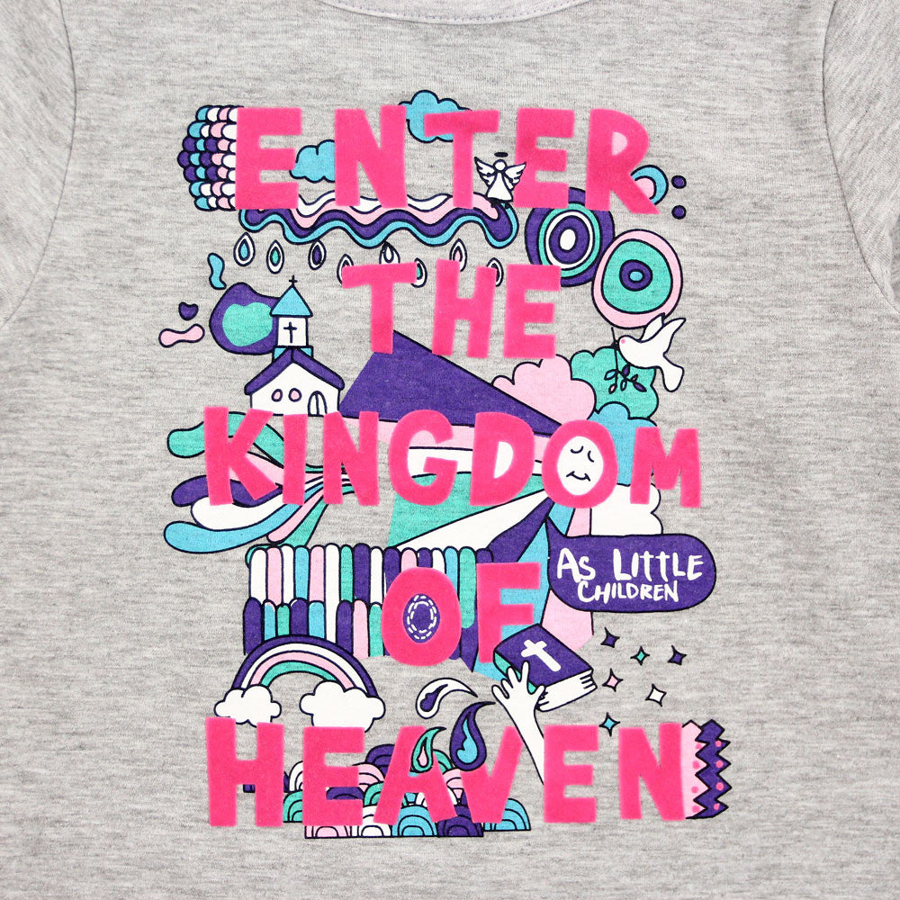"Grey Graphic Tee ""Enter Kingdom of Heaven"""