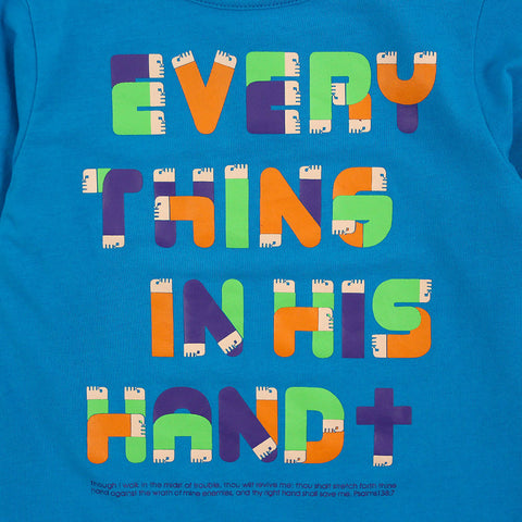 "Blue Graphic Tee ""Everything In His Hand"""