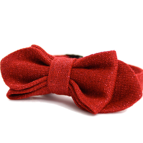 Red Metallic Knitted Bow Tie