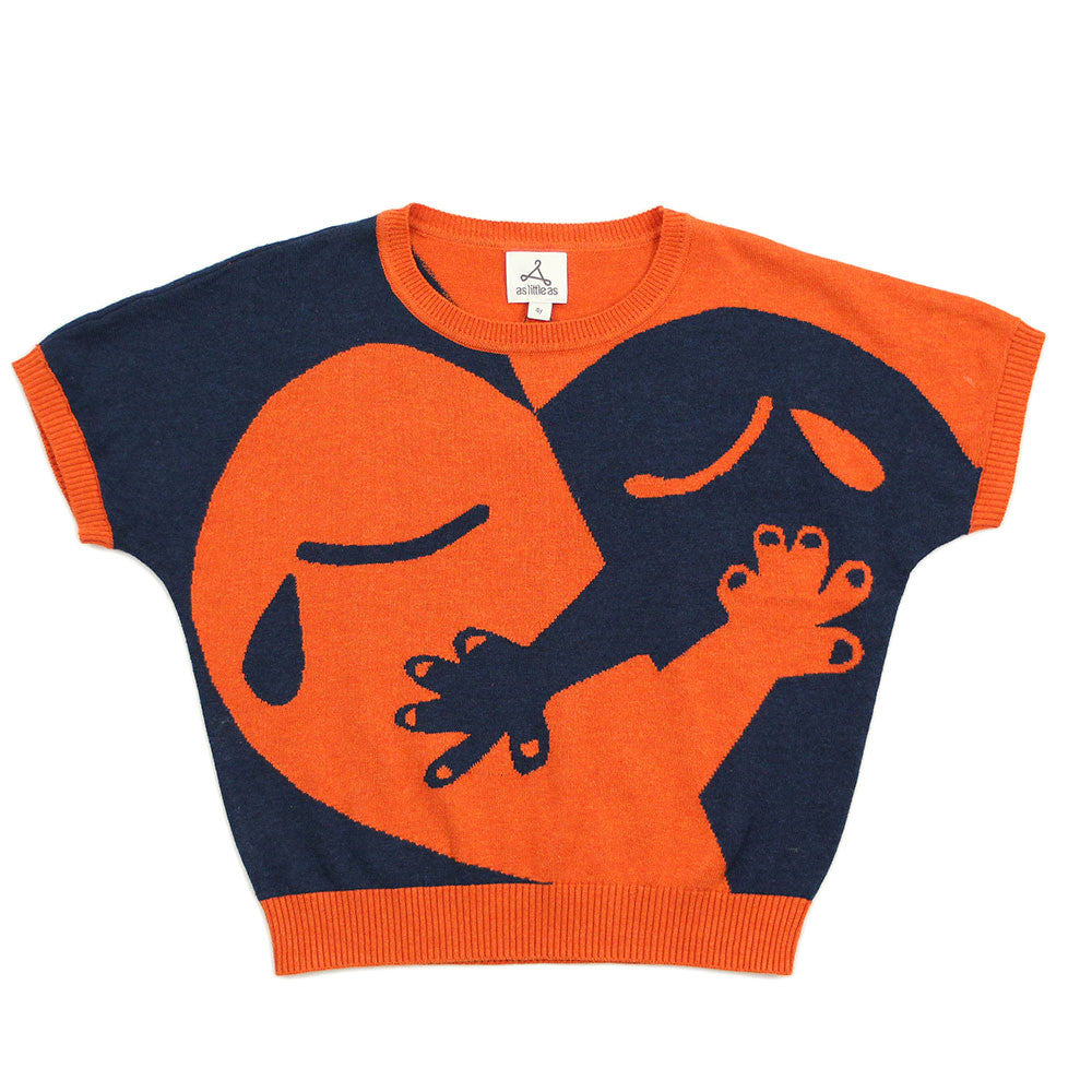 "Unisex Orange Navy Blue Cotton Jumper - ""Hugging Heart - Love is ..."""
