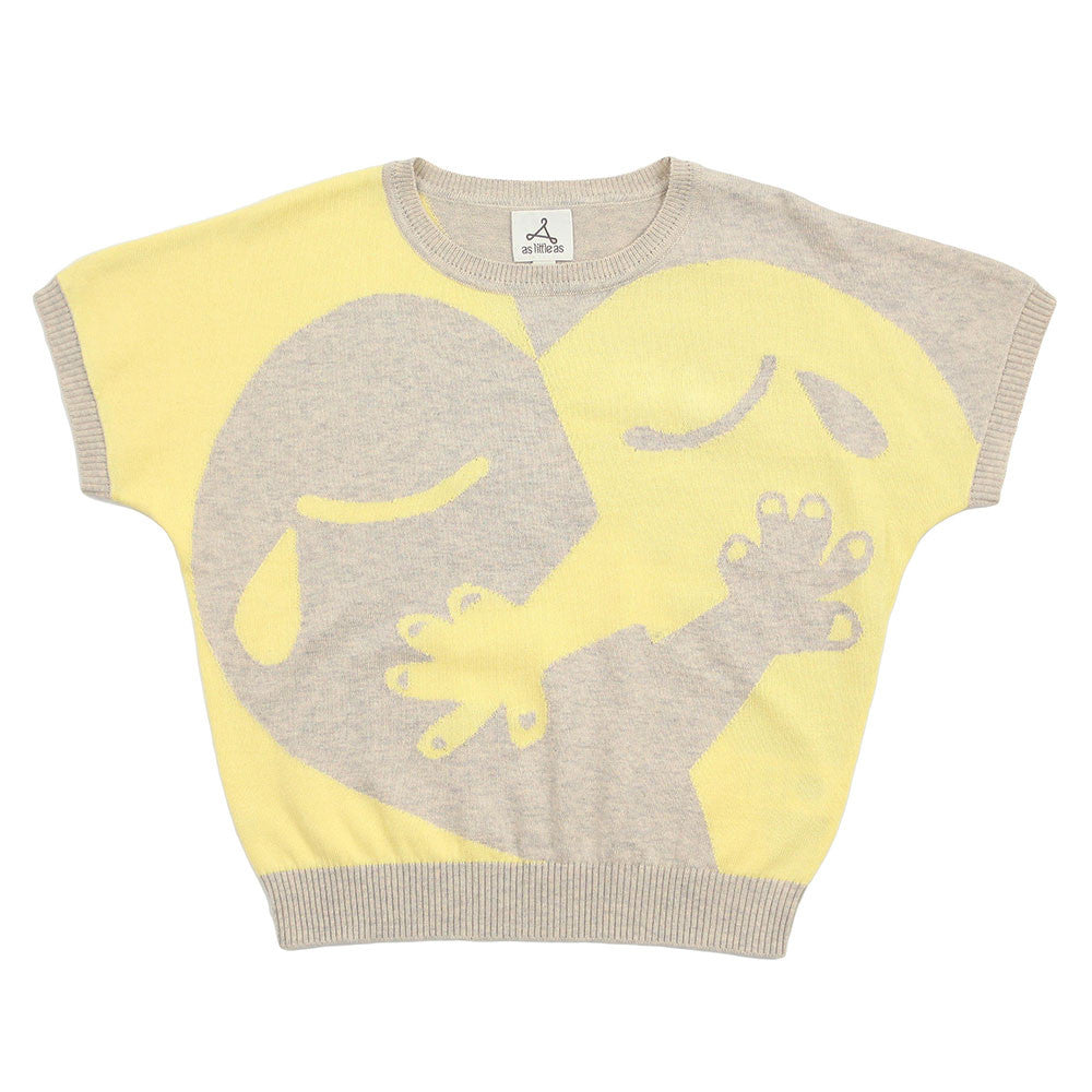 "Unisex Yellow Beige Cotton Jumper - ""Hugging Heart - Love is ..."""