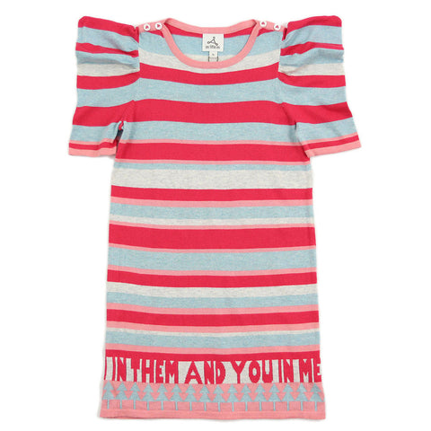 Girl Red Multi Color Stripes Knit Dress - _œI In Them And You In Me_?
