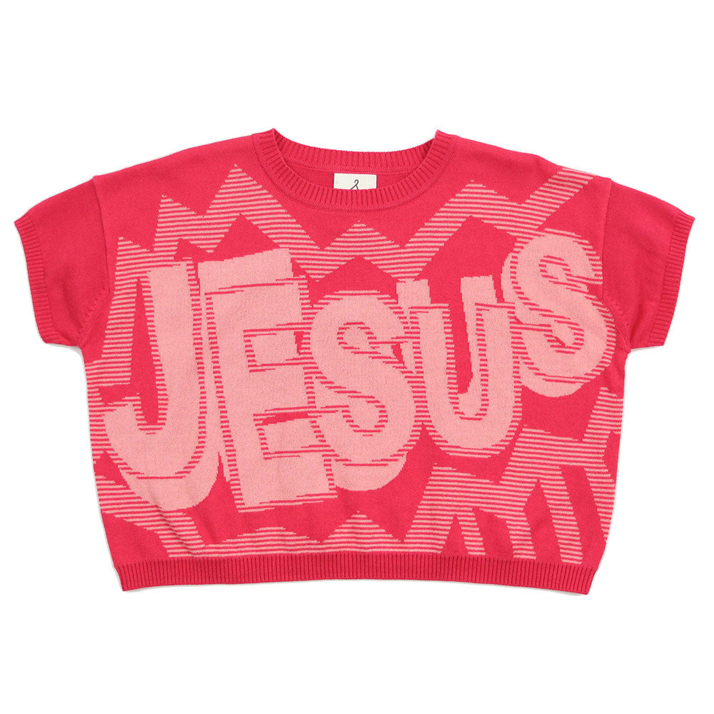 Girl Pink Knit Jumper - JESUS!