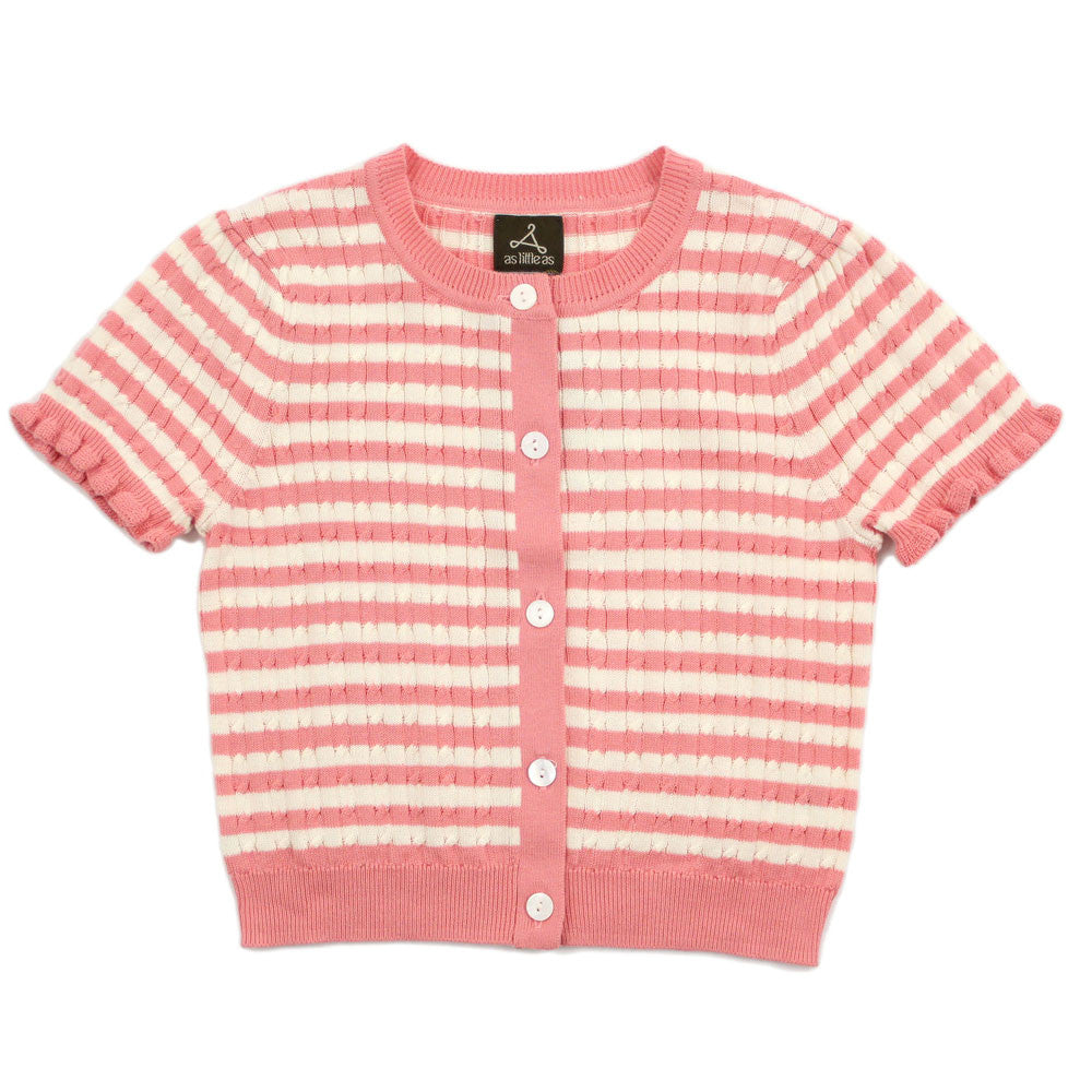 Pink Striped Cable Knit Cardigan