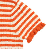 Orange Striped Cable Knit Cardigan