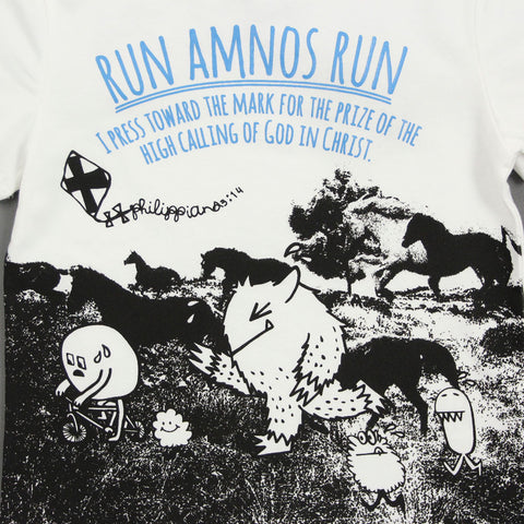 "Unisex White Photo Print Tee - ""Run AMNOS Run!"""