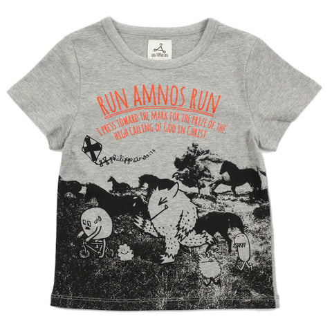 "Unisex Grey Photo Print Tee - ""Run AMNOS Run!"""