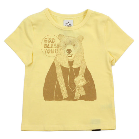 "Unisex Yellow Graphic Tee - Rev. Bear - ""GOD BLESS YOU"""