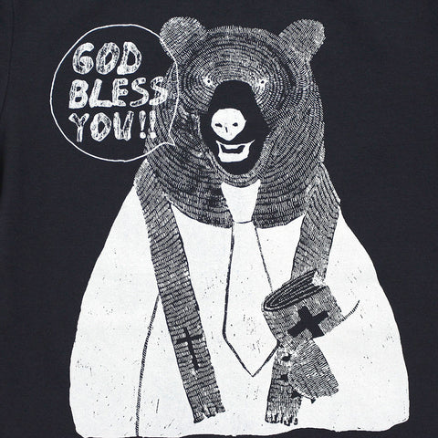 "Unisex Navy Blue Graphic Tee - Rev. Bear - ""GOD BLESS YOU"""